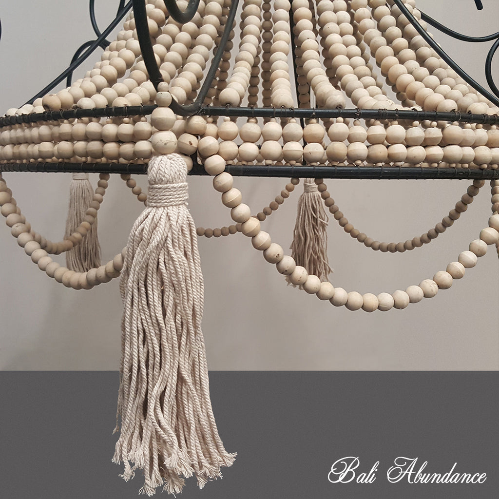 Wooden Bead & Iron Chandelier with Cotton Tassels - Cream