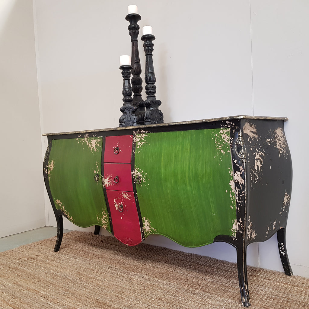 Green & Red Vintage Bombay Chest