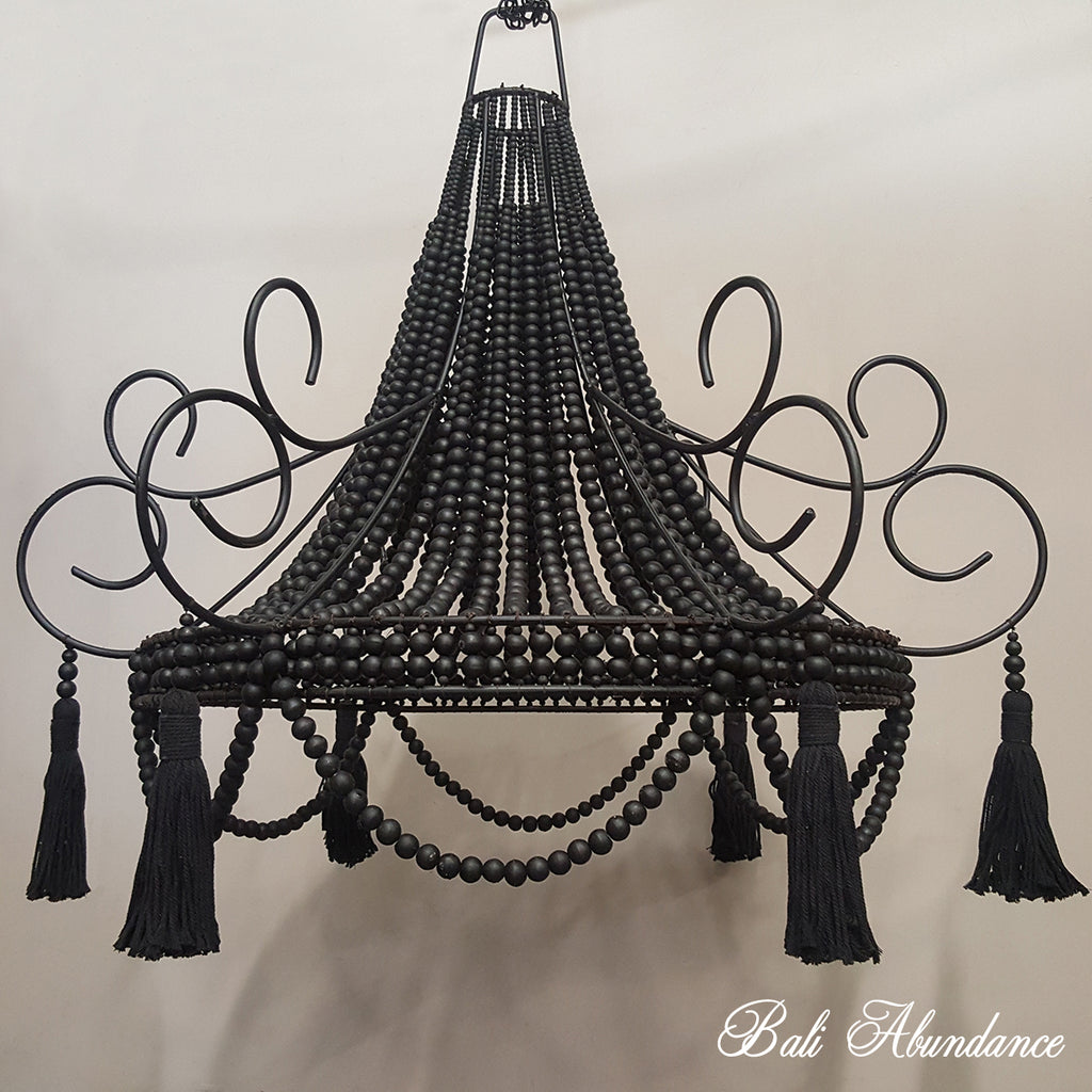 Wooden Bead & Iron Chandelier with Cotton Tassels - Black