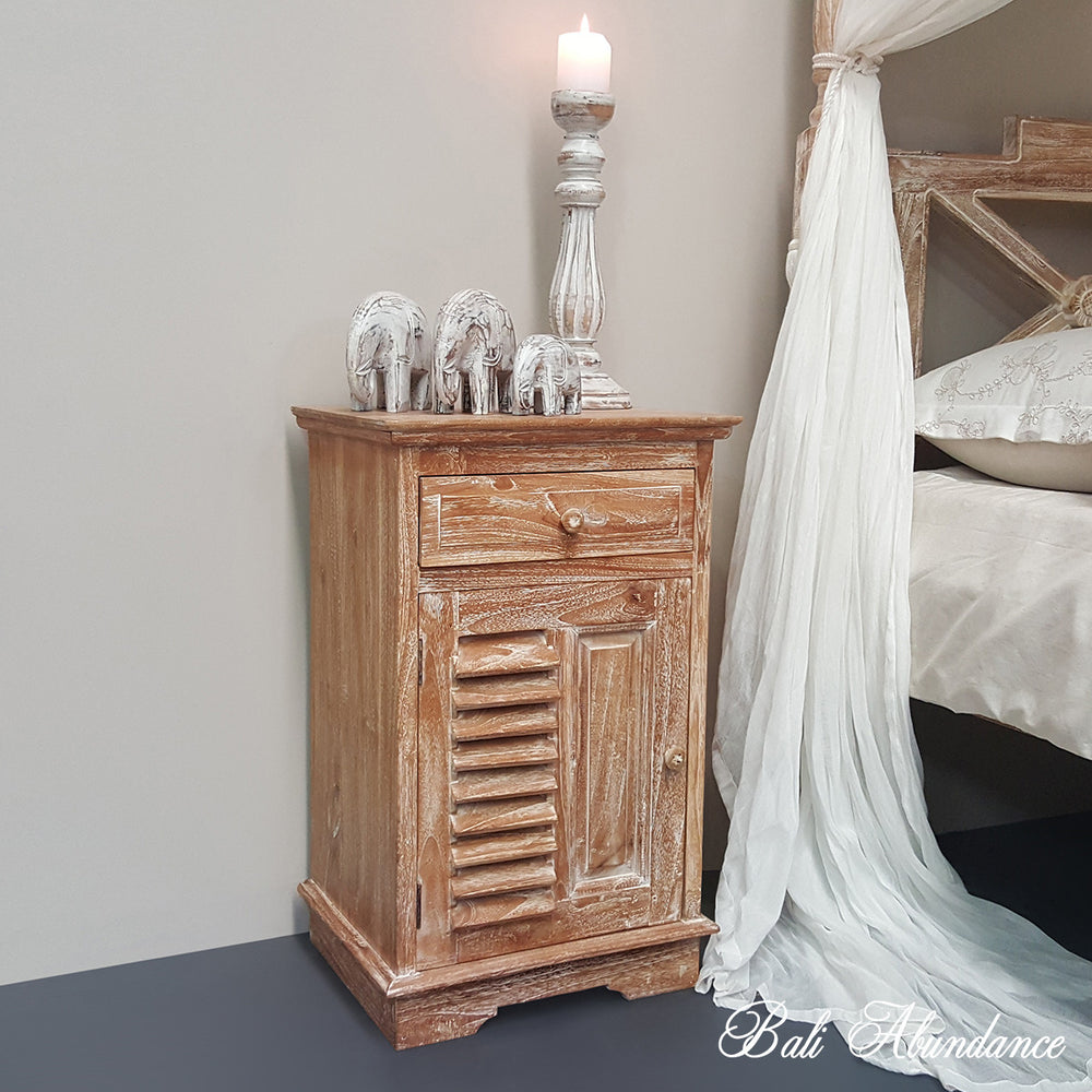 Hand Carved Teak LOUVRE Bedside Table in WHITEWASH