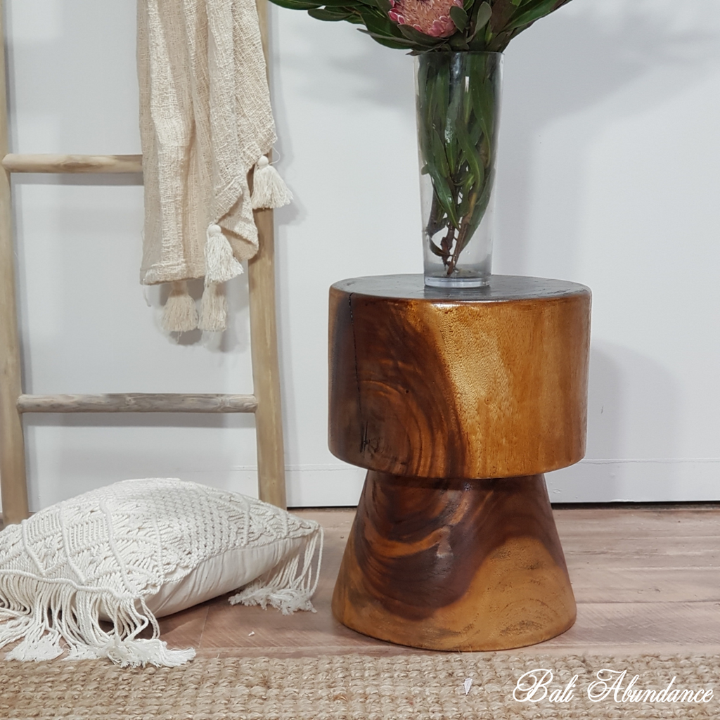 Solid Suar Wood Stool - Chestnut