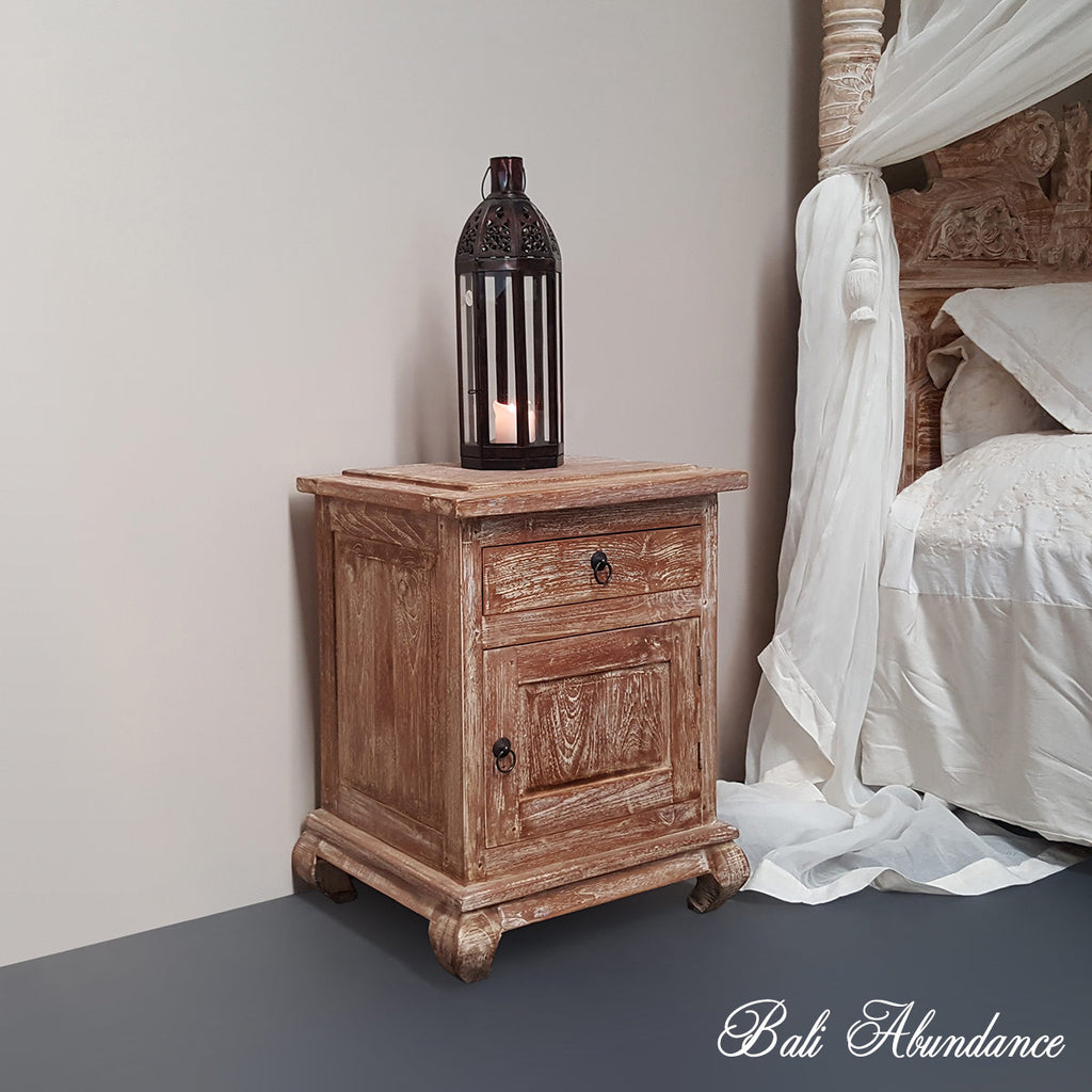 Hand Carved Teak OPIUM Bedside Table 1 Draw in WHITEWASH