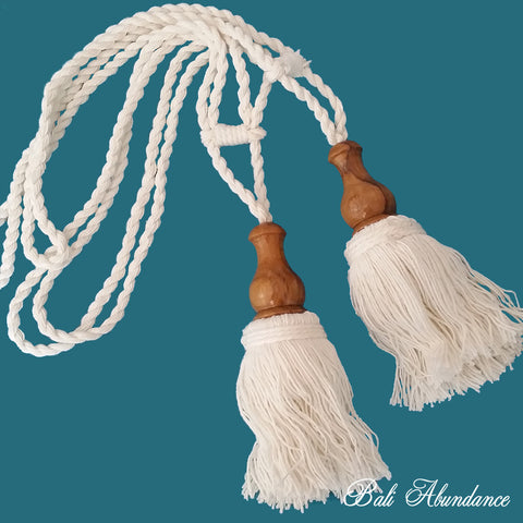 Tie Back Tassel Natural Cotton & Wood (Pair)