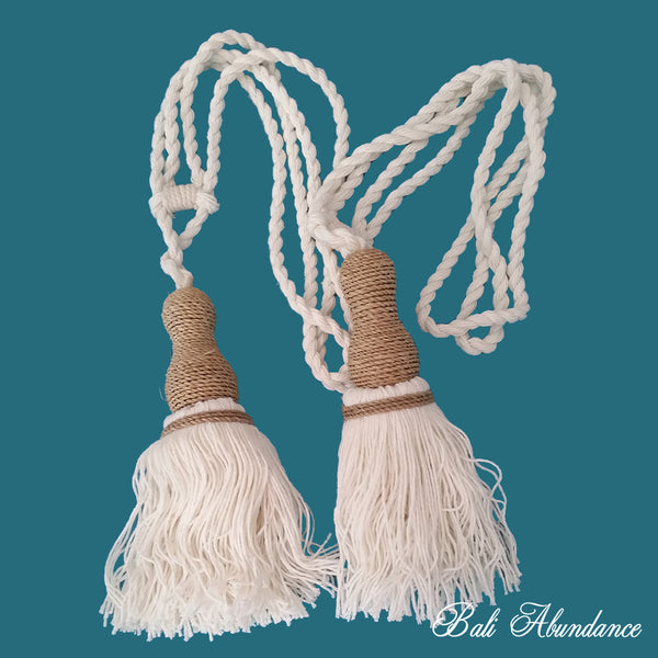 Tie Back Tassel Natural Cotton & String (Pair)