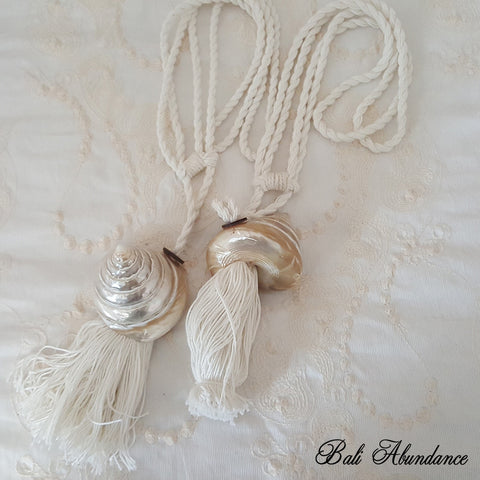 Tie Back Tassel Natural Cotton & Shell 2 (Pair)