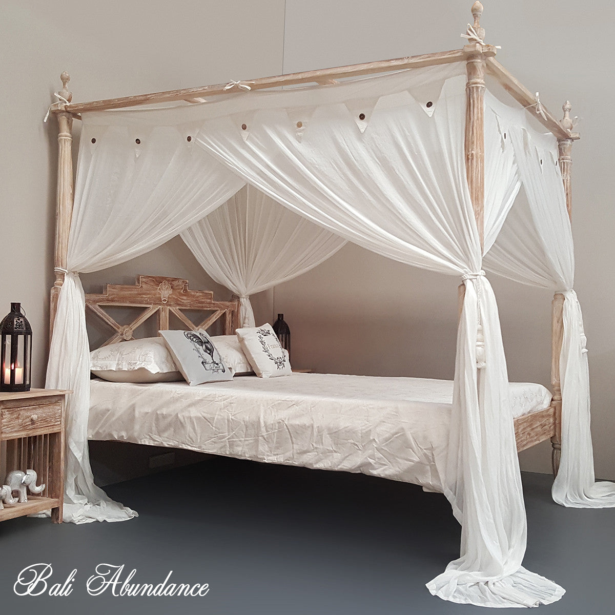 Hand Carved Teak Seaside Four Poster Bed In Whitewash
