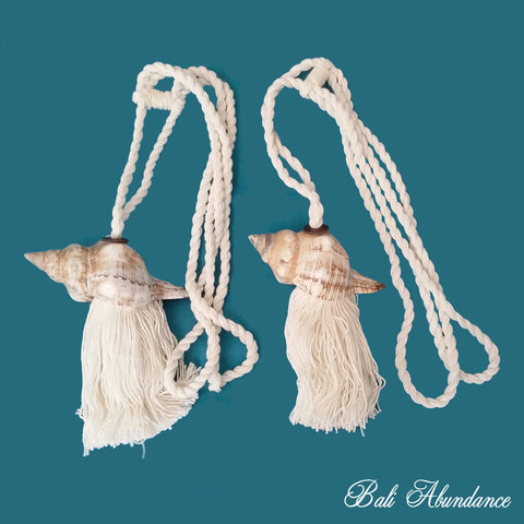 Tie Back Tassel Natural Cotton & Shell 1 (Pair)