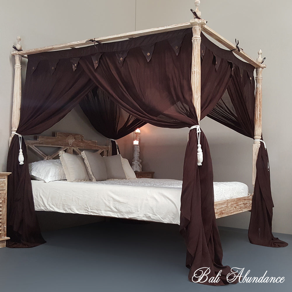 STANDARD Canopy Mosquito Net with Decorative Coconut Buttons in BROWN