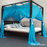 STANDARD Canopy Mosquito Net with Decorative Coconut Buttons in AQUA