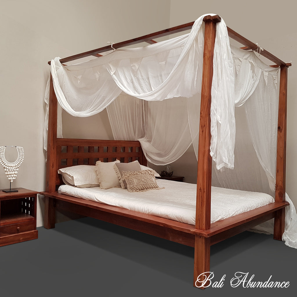 Hand Carved Teak MIMI Four Poster Bed in CHESTNUT