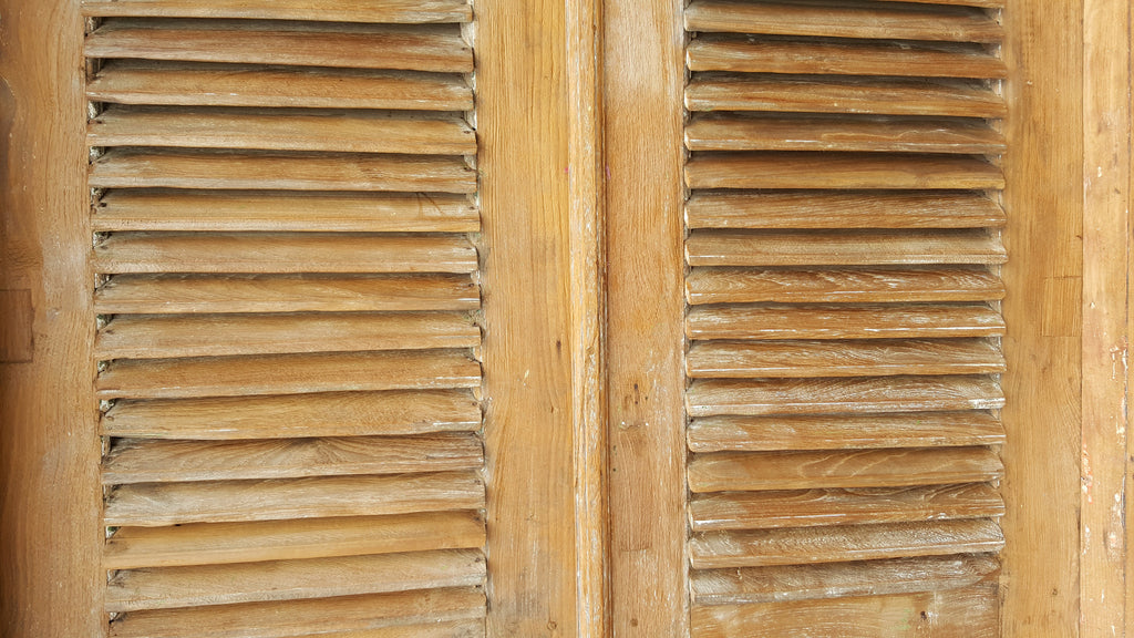 Balinese Original Vintage Natural & Iron Door with Louvre Shutters in Original Frame 8A