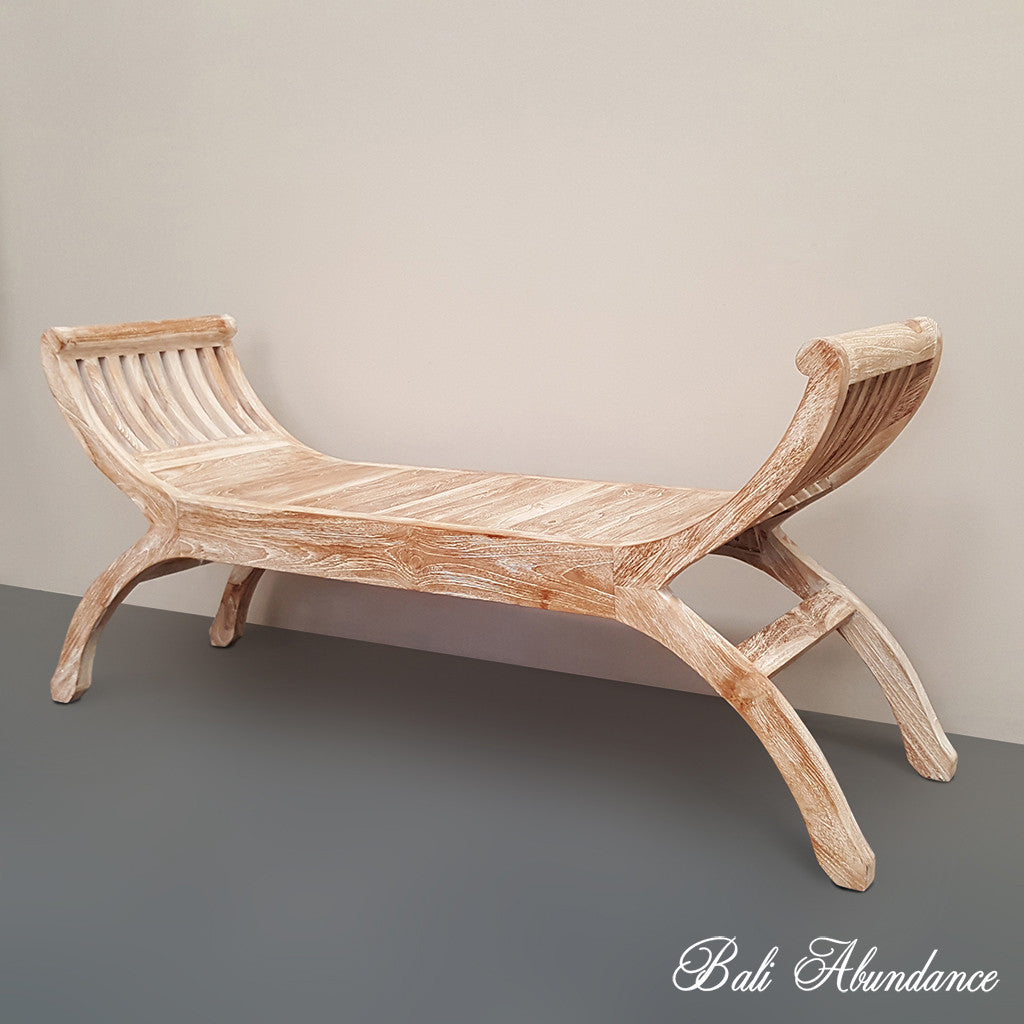Kartini WHITEWASH Wooden Bench Seat