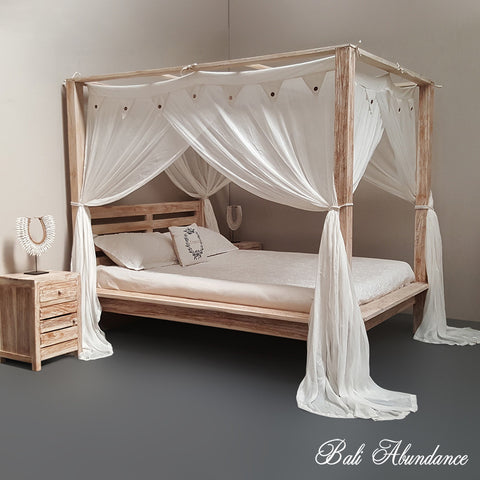 Hand Carved Teak MAXI Four Poster Bed in WHITEWASH