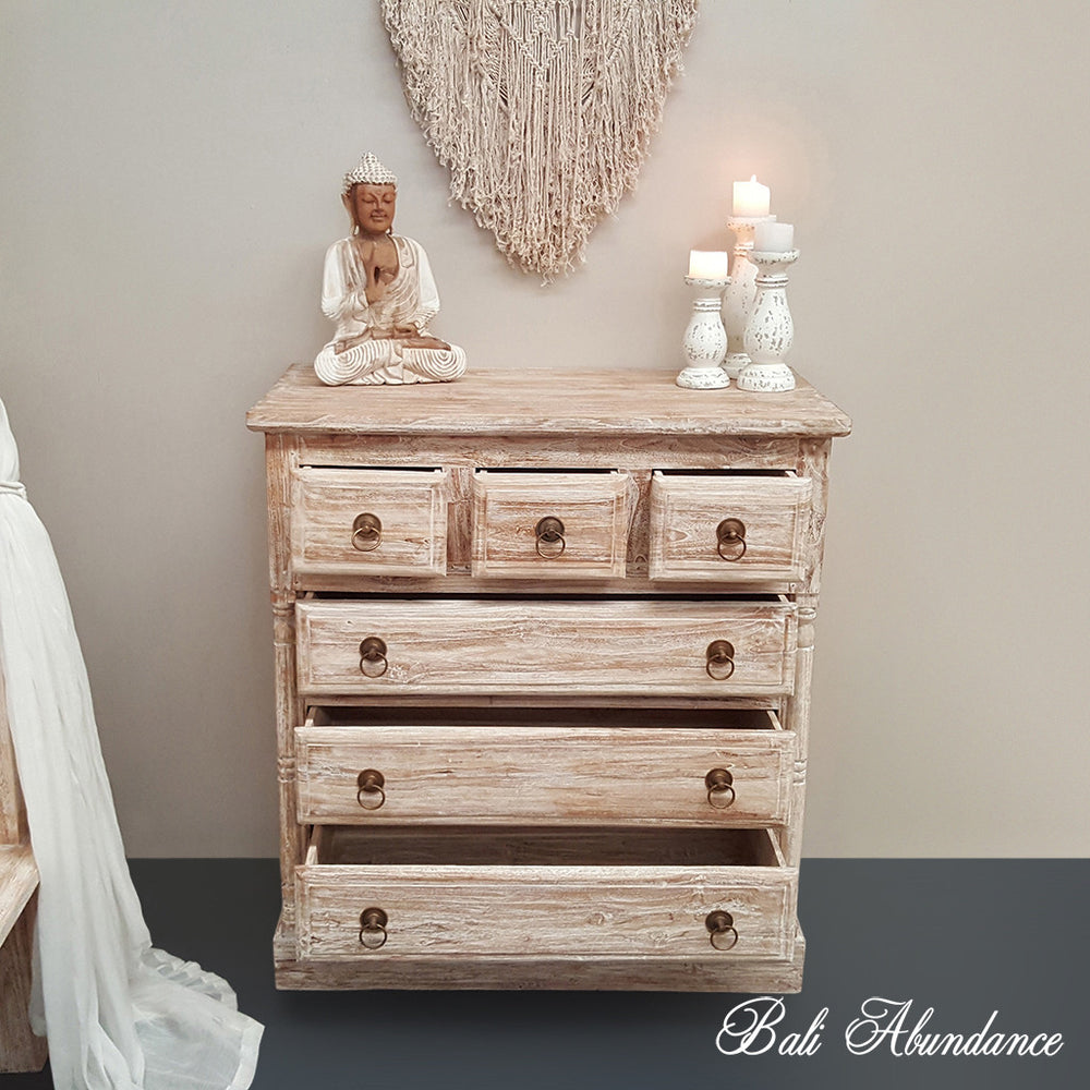 Tallboy Chest of Drawers Classic Hand Carved WHITEWASH 6 Draw with Brass Handles