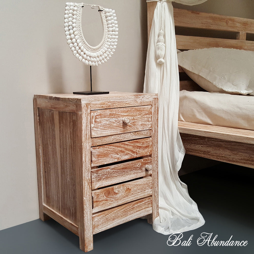 MAXI Hand Carved Teak Bedside Table in WHITEWASH