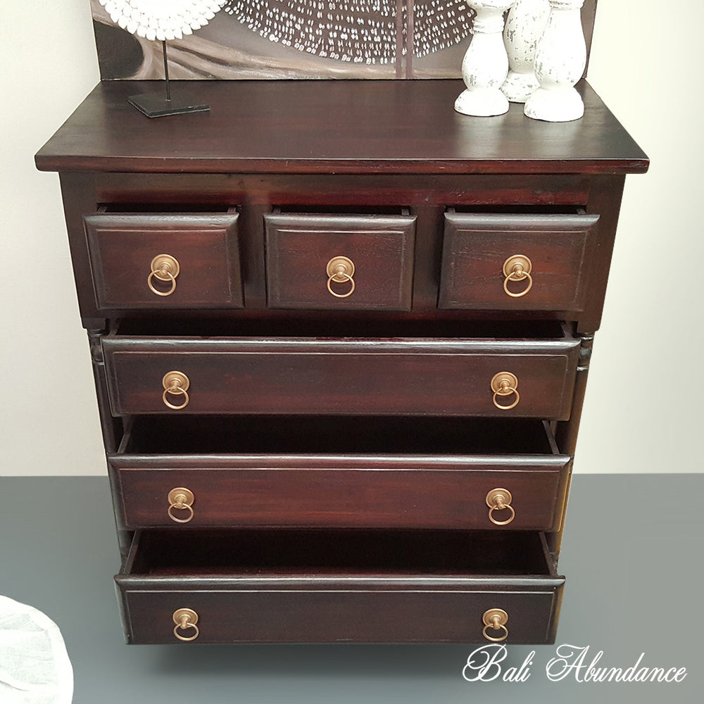 Classic Hand Carved WALNUT 6 Drawer Tallboy with Brass Handles