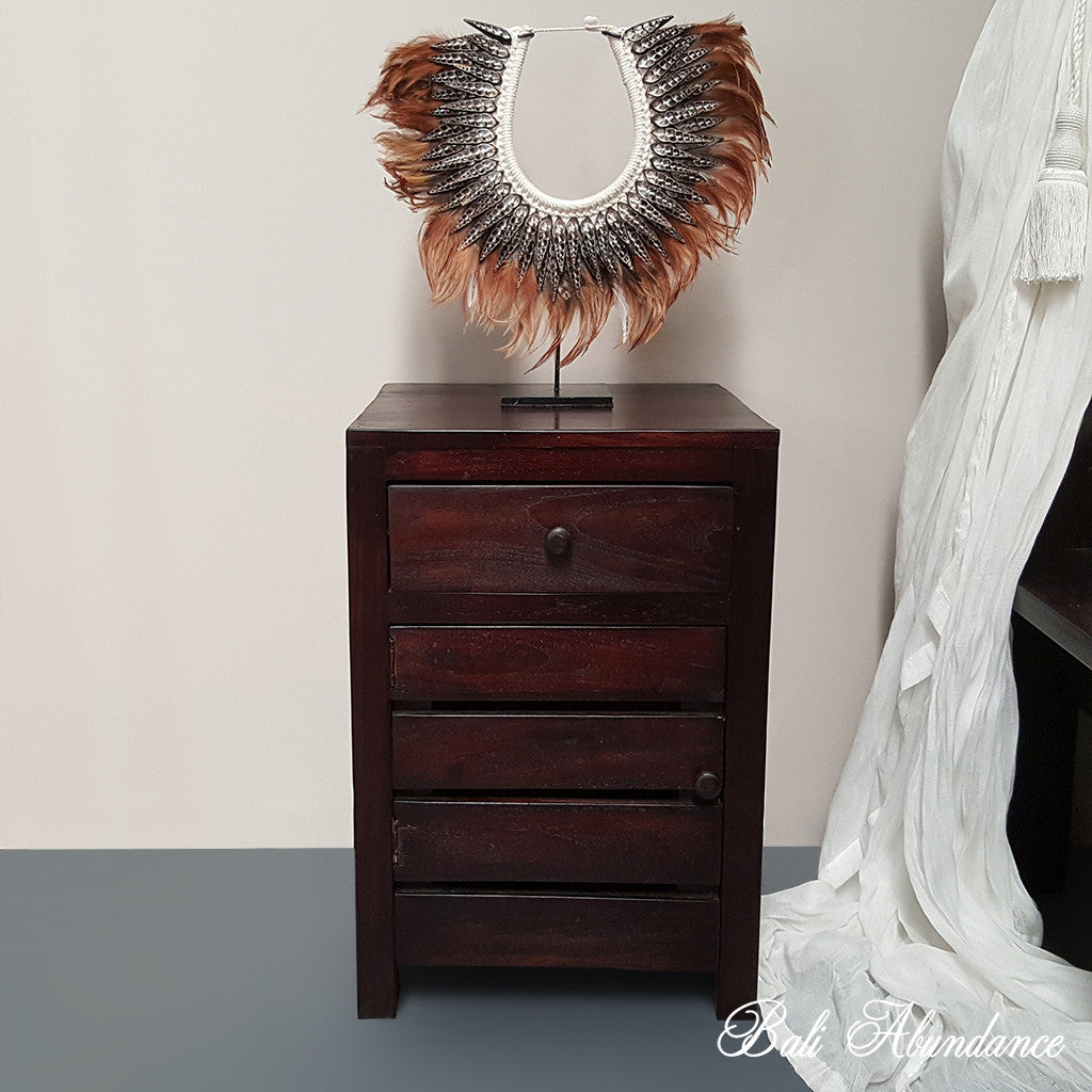 Hand Carved Teak MAXI Bedside Table in WALNUT