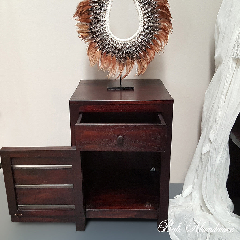 MAXI Hand Carved Teak Bedside Table in WALNUT