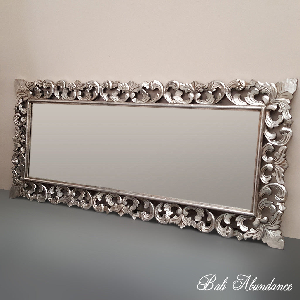 Hand Carved French Provincial Inspired Silver Mirror