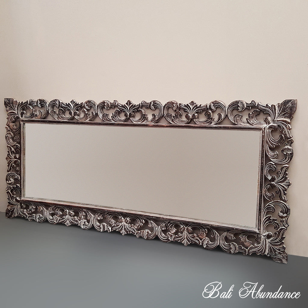 Hand Carved French Provincial Inspired BROWNWASH Mirror 180 x 80