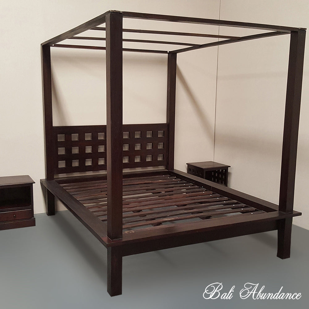 Hand Carved Teak MIMI Four Poster Bed in WALNUT