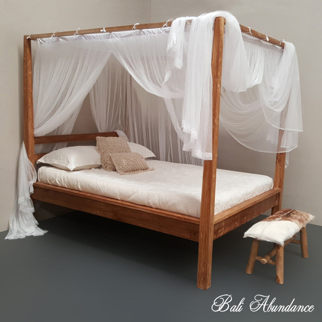 - Hand Carved Teak COMO Four Poster Bed In Antique Finish – Bali