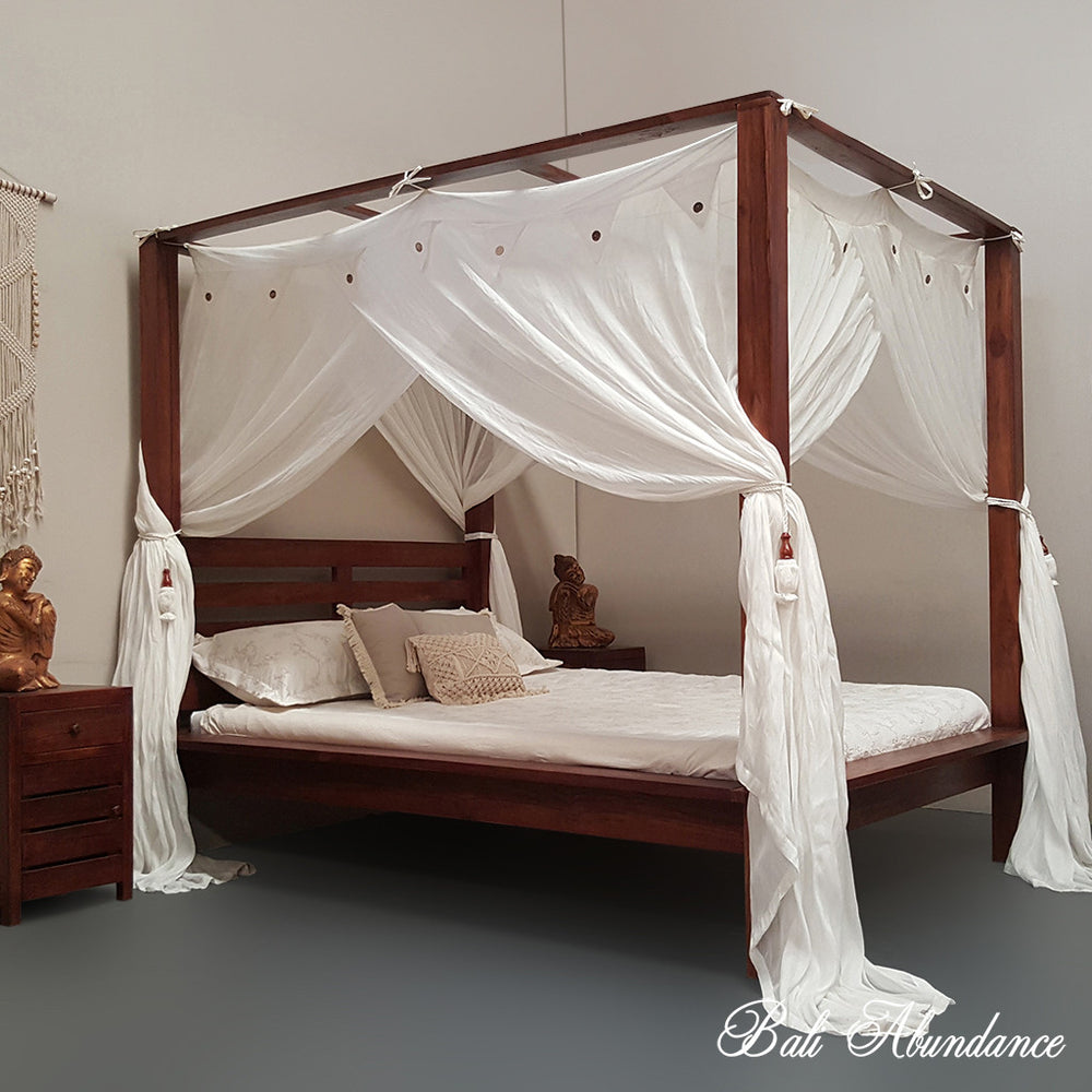4 four poster bed bali handcarved chestnut maxi