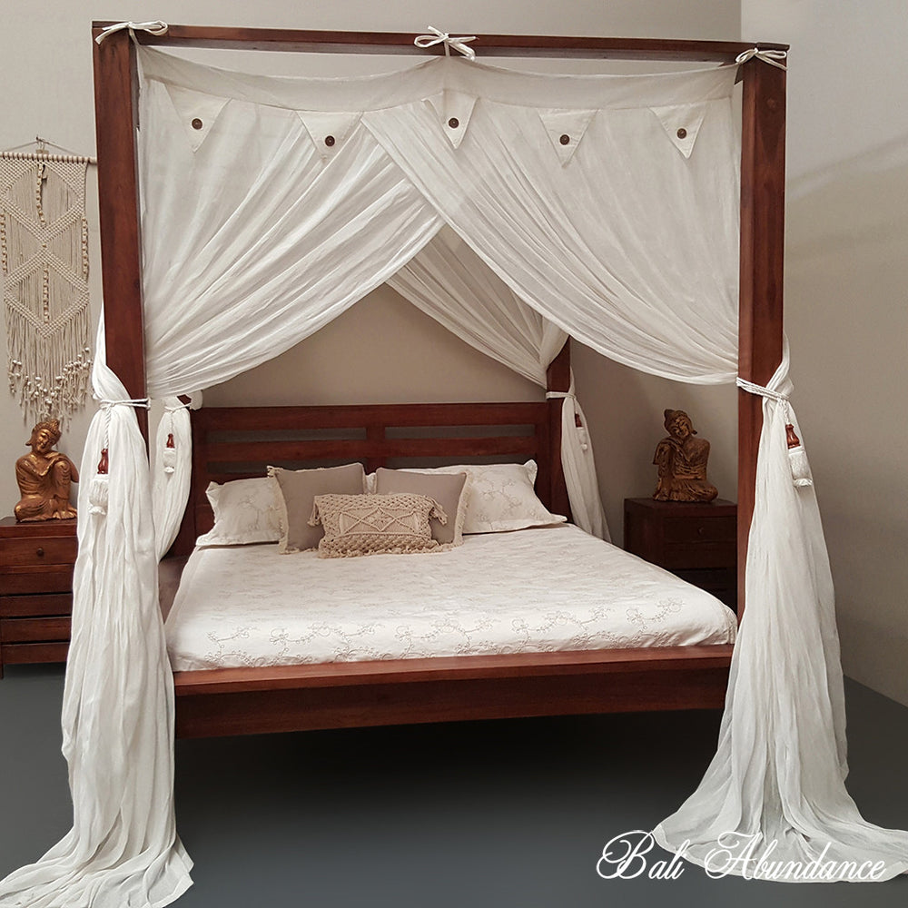 Hand Carved Teak MAXI Four Poster Bed in CHESTNUT