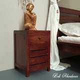 Hand Carved Teak MAXI Bedside Table in CHESTNUT