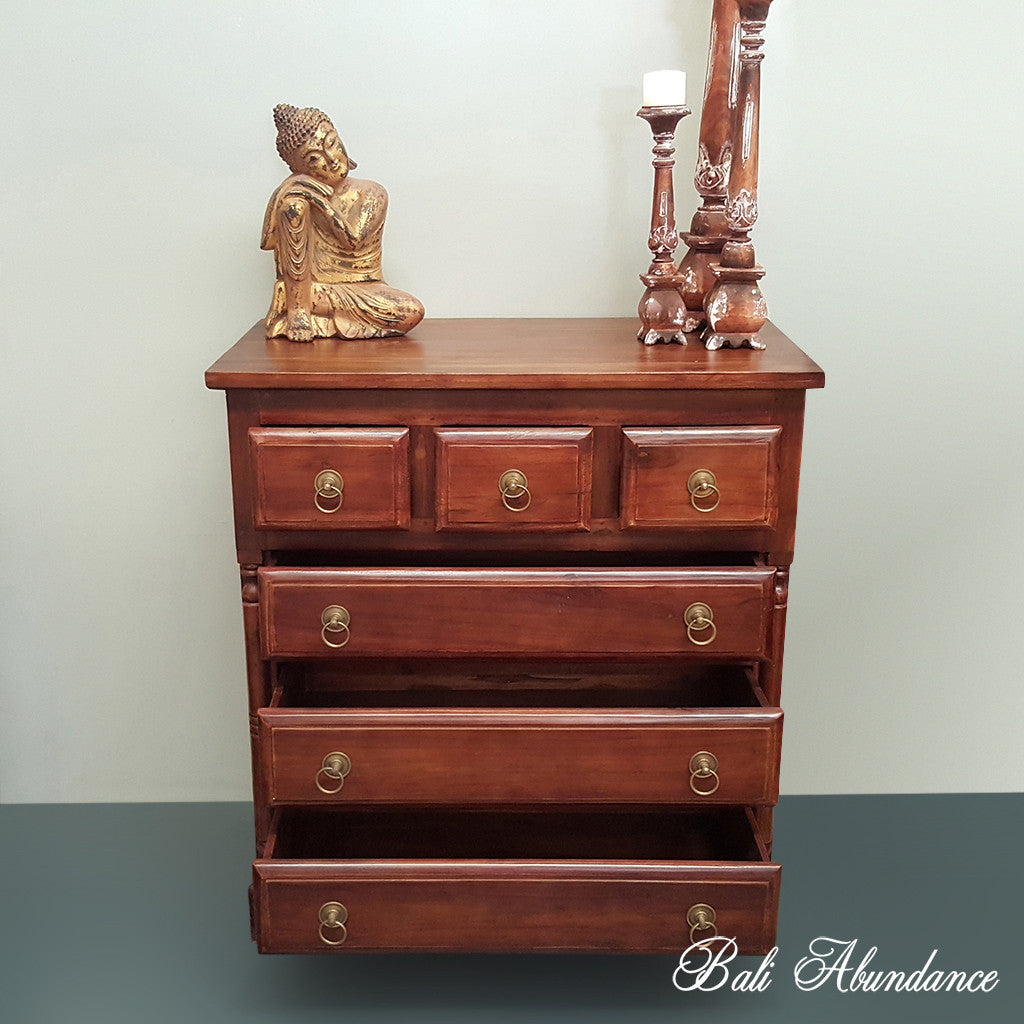 Tallboy with Brass Handles Classic Hand Carved Chest of Drawers CHESTNUT 6 Drawer
