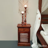 Hand Carved Teak SHUTTER Bedside Table in CHESTNUT