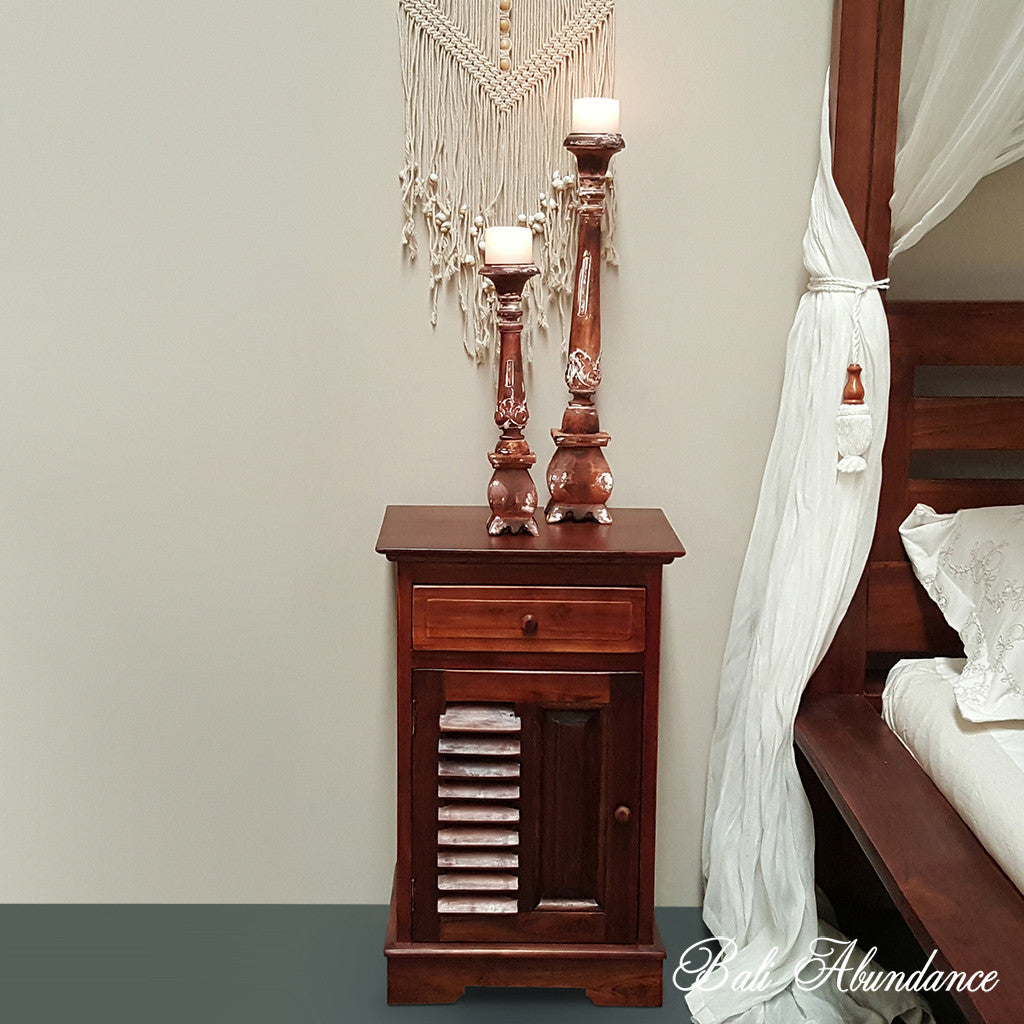 info for 0e5cc 5a45e Hand Carved Teak LOUVRE Bedside Table in CHESTNUT