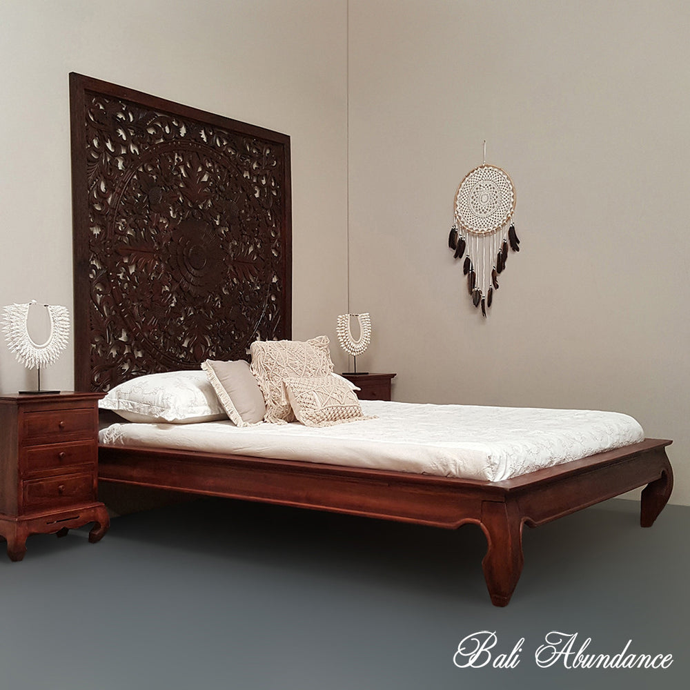 Minimalistic OPIUM Hand Carved Teak Bed in CHESTNUT