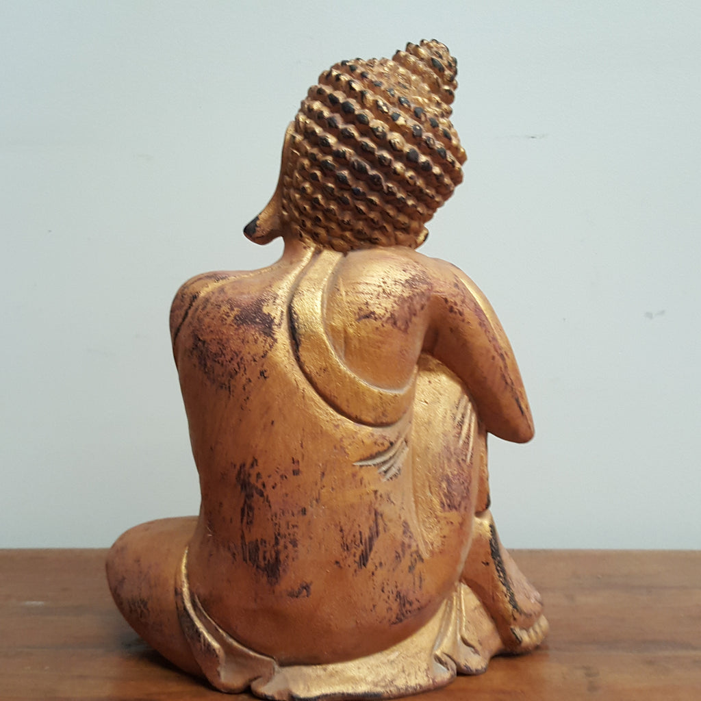 Resting Gold Buddha Statue with Vintage Finish - 45C