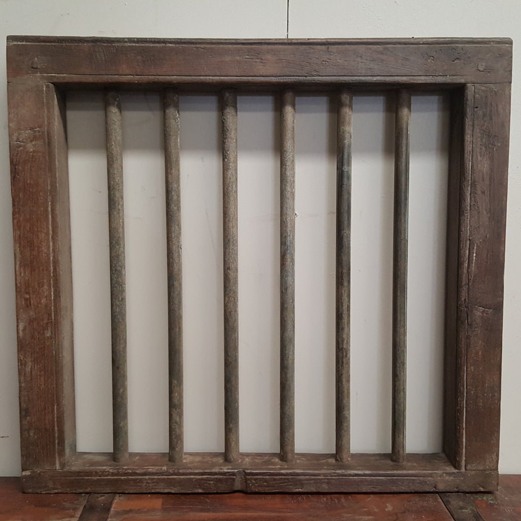 Indian Vintage Jali Iron & Timber Window Frame Panel 97C