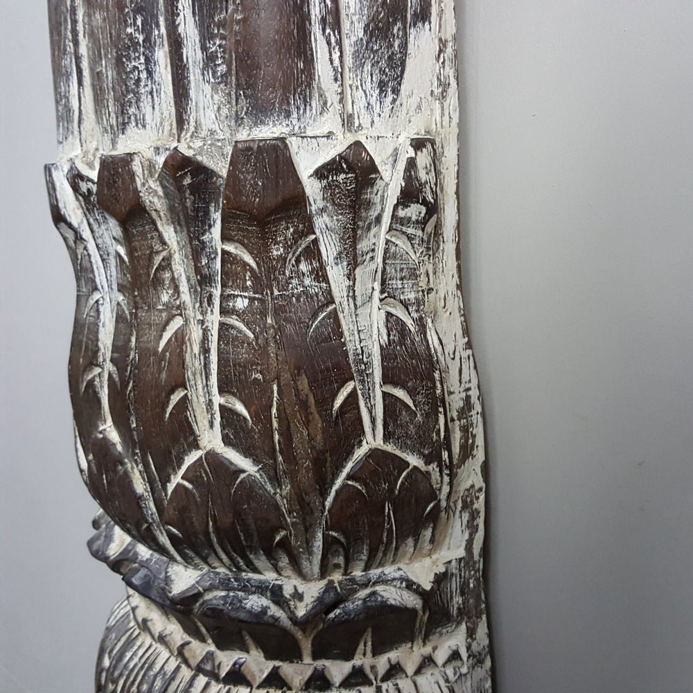 Indian Hand Carved Column WHITEWASH Vintage Pillar Candle Holder 139C - Eco Village Collection