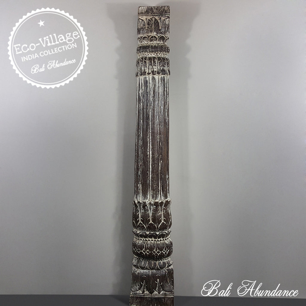 Indian Hand Carved Column WHITEWASH Vintage Candle Holder 139C - Eco Village Collection