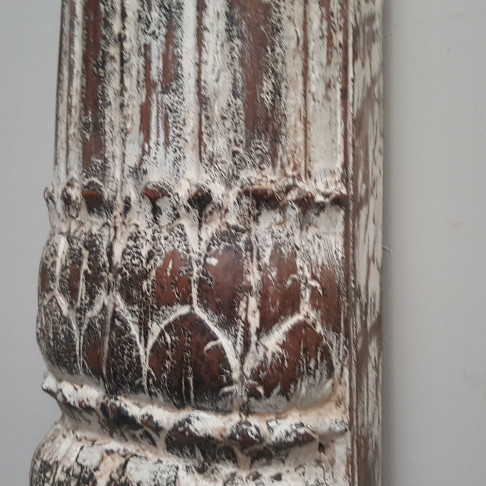 Indian Hand Carved Column WHITEWASH Vintage Pillar Candle Holder 141C - Eco Village Collection