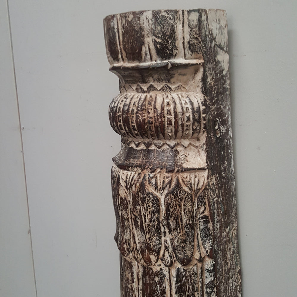Indian Hand Carved Column WHITEWASH Vintage Pillar Candle Holder 142C - Eco Village Collection