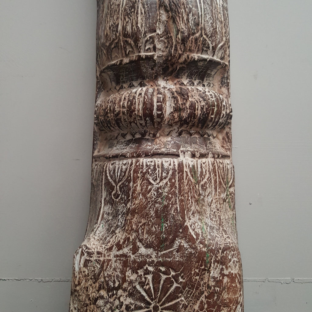 Indian Hand Carved Column WHITEWASH Vintage Candle Holder 142C - Eco Village Collection