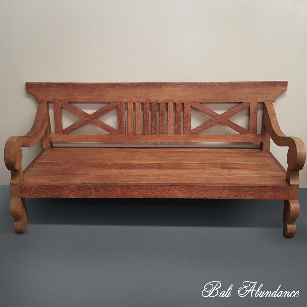 Balinese Hand Carved Coconut  Wood Daybed Miminalistic 146C