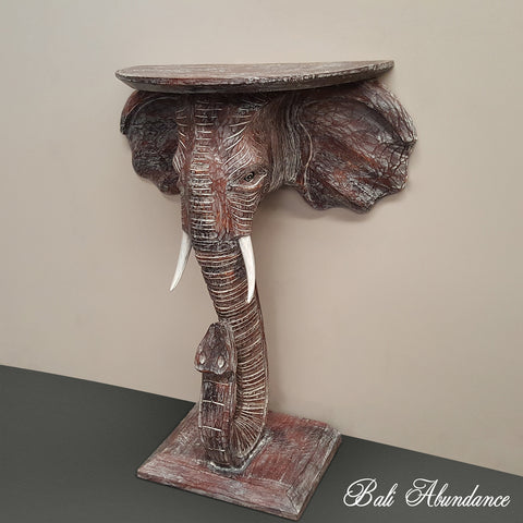 Hand Made Elephant Side Table in Brownwash