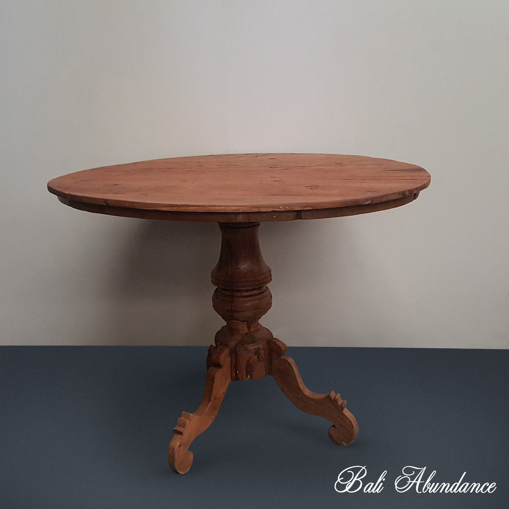 Original Vintage Round Natural Timber Dining Table 160C