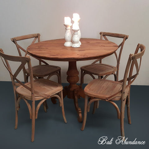 Original Vintage Round Natural Timber Dining Table 162C