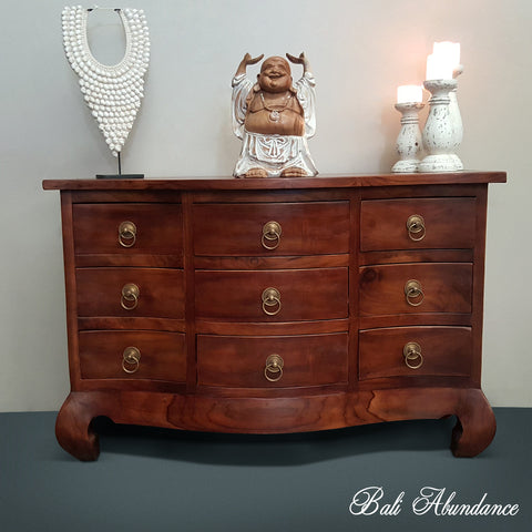 Tallboy with Brass Handles Provincial with Opium Legs Hand Carved Chest of Drawers CHESTNUT 9 Drawer