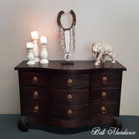 Tallboy Provincial with Brass Handles Opium Legs Hand Carved Chest of Drawers WALNUT 9 Drawer