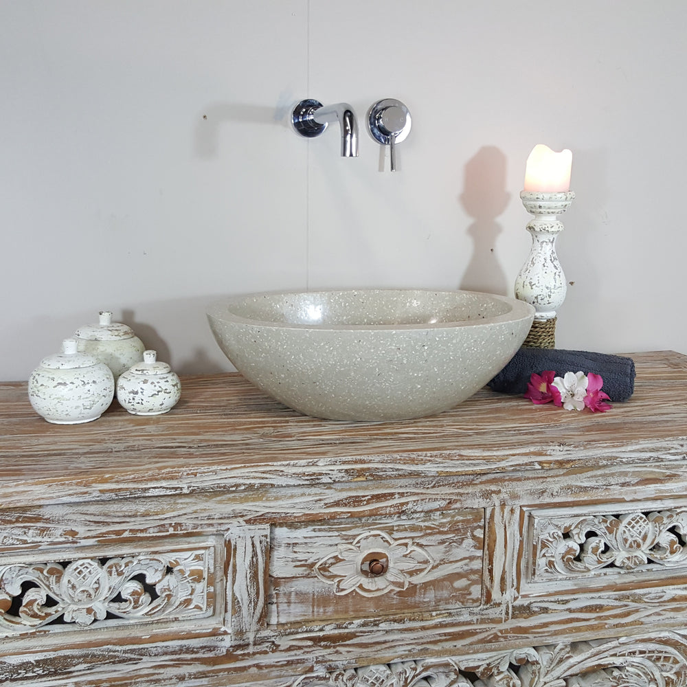 Terrazzo Marble Stone Oval Beige & Grey Bathroom Basin No. 18C