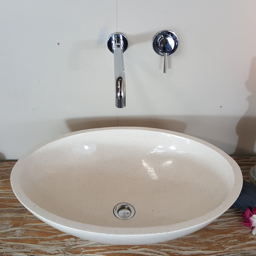 Terrazzo Marble Stone Large Oval Beige Bathroom Basin No. 20C