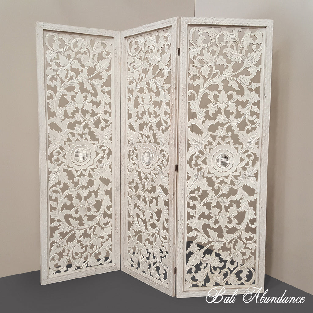 PRE ORDER Hand Carved 3 Piece Bi Fold Panel WHITEWASH 180 X 180