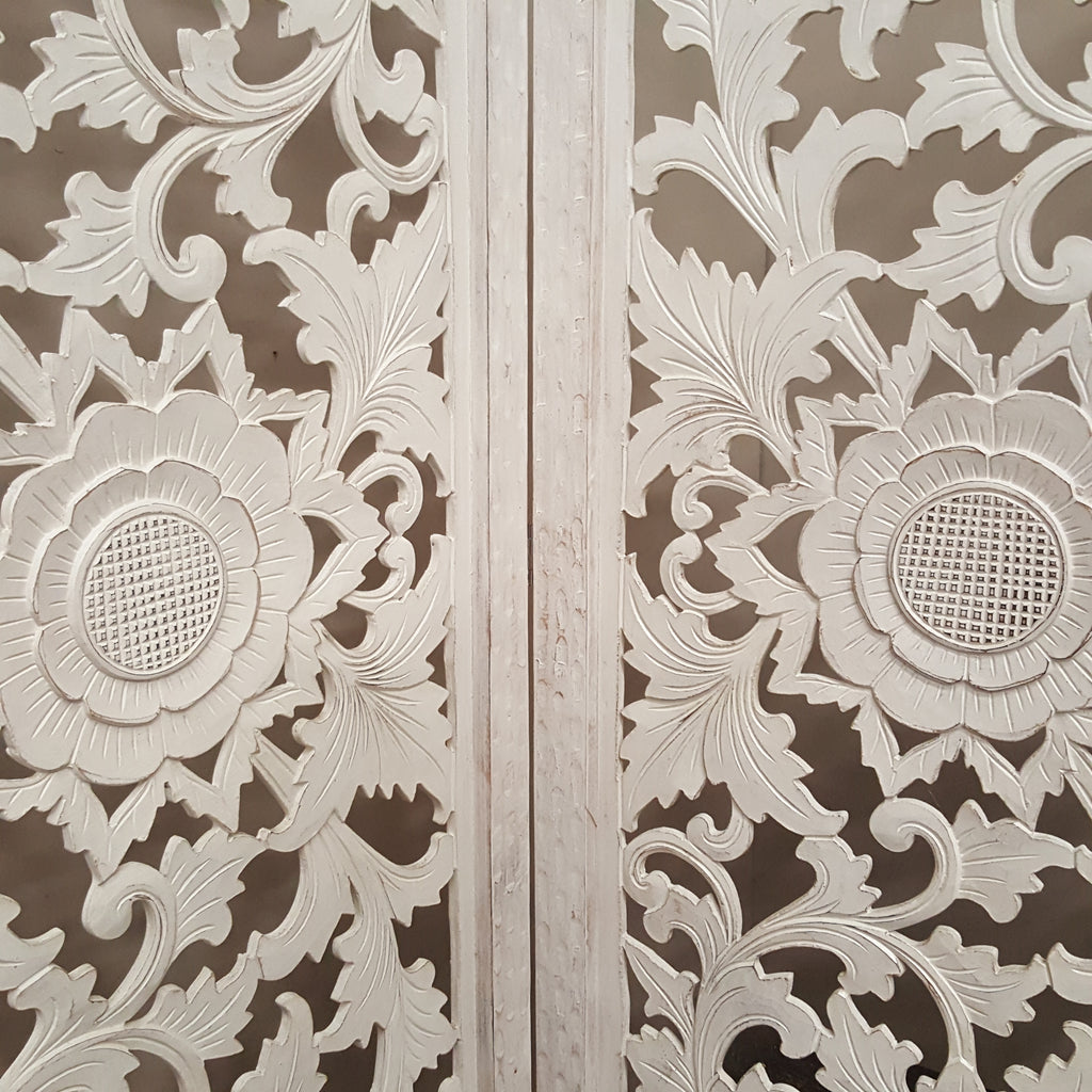 Hand Carved WHITEWASH 3 Piece Bi Fold Panel Screen 180 X 180